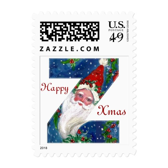 XMAS Z LETTER /SANTA CLAUS WITH RED RIBBON AND CAT POSTAGE