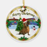 Xmas ZMusic 1 - MC - Brown Dachshund (hat) Double-Sided Ceramic Round Christmas Ornament