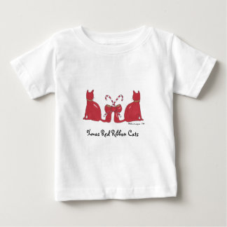 XmasRedRibbonCats, gatos rojos de la cinta de Playera De Bebé