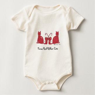 XmasRedRibbonCats, Xmas Red Ribbon Cats Baby Bodysuit