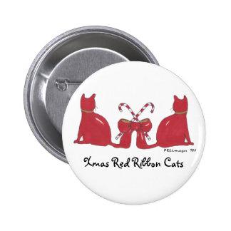 XmasRedRibbonCats, Xmas Red Ribbon Cats Pinback Buttons