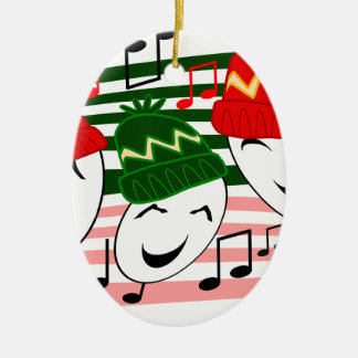 xmassingers.png Double-Sided oval ceramic christmas ornament