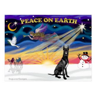 XmasSunrise-Black Great Dane Post Cards