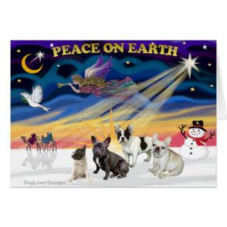 XmasSunrise-Four FrenchBulldogs Card