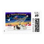 XmasSunrise-Four FrenchBulldogs Postage Stamp