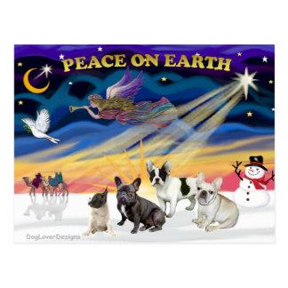 XmasSunrise-Four FrenchBulldogs Postcards