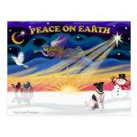 XmasSunrise-FoxTerrier1 Post Card