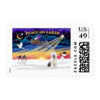 XmasSunrise-Old English Sheepdog3 Postage Stamp