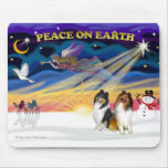 XmasSunrise-Two Collies -SW+TRI Mouse Pad