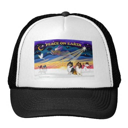 XmasSunrise-Two Collies -SW+TRI Trucker Hat