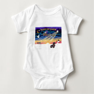 XmasSunrise-WireHaired Dachshund Baby Bodysuit