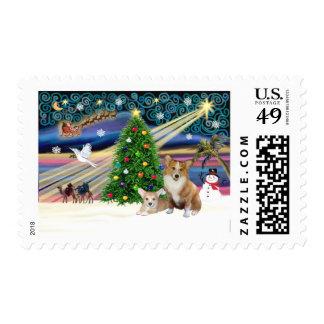 Xms Magic-2Corgis-Pem+pup Stamps