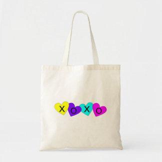 XO abraza y besa corazones Bolsa Tela Barata
