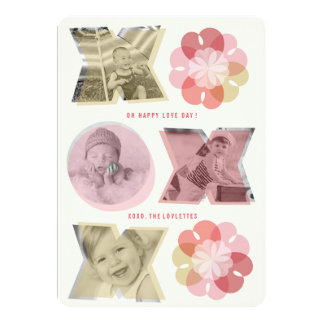 XO Flowers Love Hearts Valentine's Day Photo Card