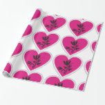 Xo Fuchsia Heart And Tulip Wrapping Paper at Zazzle