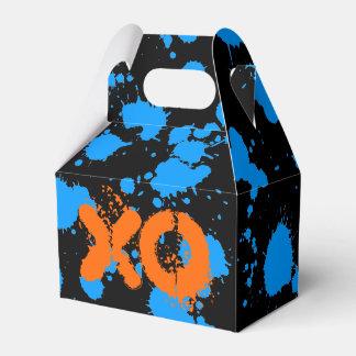 XO Graffiti Art Black and Blue 90s Splatter Paint Favor Box