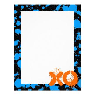 XO Graffiti Art Black and Blue 90s Splatter Paint Letterhead