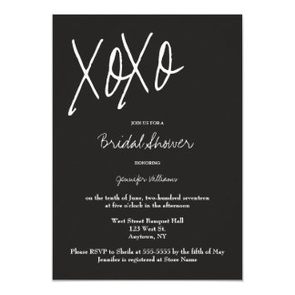 XO grey bridal shower invitations