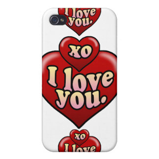 XO I love you with hearts Case For iPhone 4