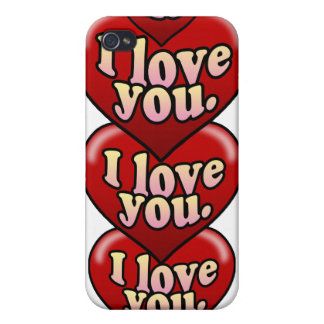 XO I love you with hearts iPhone 4 Cases