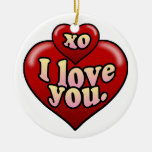 XO I love you with hearts. Double-Sided Ceramic Round Christmas Ornament