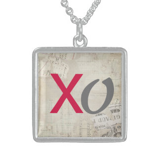 XO Kisses and Hugs Grunge Sterling Silver Necklace