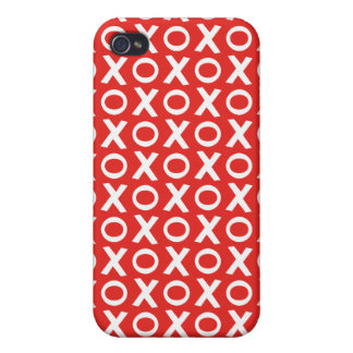 XO Kisses and Hugs Pattern Illustration red white iPhone 4 Case