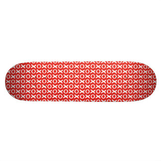 XO Kisses and Hugs Pattern Illustration red white Skateboard