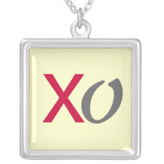 XO Kisses and Hugs Silver Necklace Square