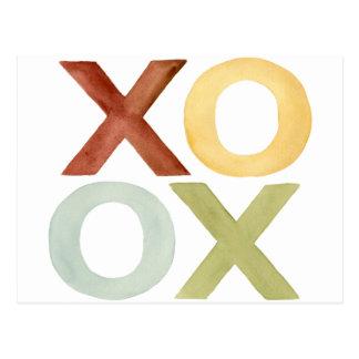 XO OX red yellow grey green watercolor Postcard