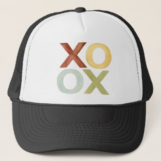 XO OX red yellow grey green watercolor Trucker Hat