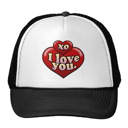 XO te amo con los corazones Gorro