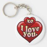 XO te amo con los corazones Llavero Redondo Tipo Pin