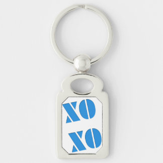 XO XO Silver-Colored RECTANGULAR METAL KEYCHAIN