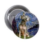 Xoloitzcuintle (Xolo) - Starry Night (Vertical) Pinback Button