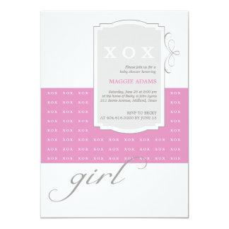 "XOX Girl Custom Baby Shower Invitation 5"" X 7"" Invitation Card"