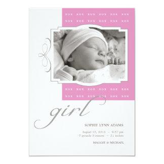 XOX Girl Custom Photo Birth Announcement
