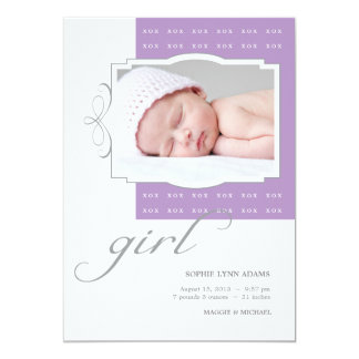 "XOX Girl Custom Photo Birth Announcement 5"" X 7"" Invitation Card"