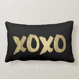 XOXO Black & Faux Gold Brushstroke Typography Lumbar Pillow