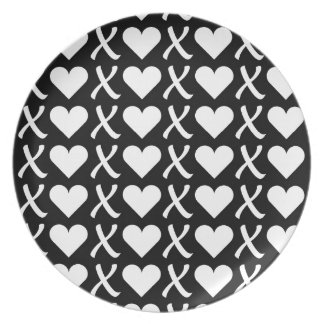 XOXO Black Melamine Plate
