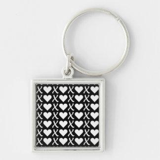 XOXO Black Silver-Colored Square Keychain