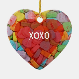 XOXO-Candy Hearts with New Sayings Ceramic Ornament