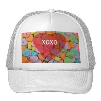 XOXO-Candy Hearts with New Sayings Trucker Hat