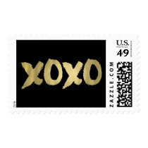 XOXO Faux Gold & Black | Hugs & Kisses Postage