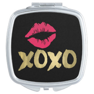XOXO Faux Gold & Pink Lips | Black Vanity Mirror