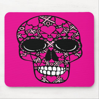 XOXO Forever - Skull Mouse Pad on Pink
