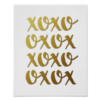xoxo gold typography poster print