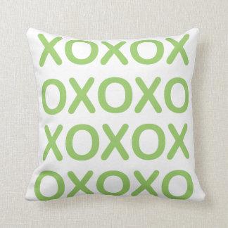 XOXO Green and White Pillow