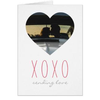 XOXO Heart Frame Sending Love Valentine's Day Card