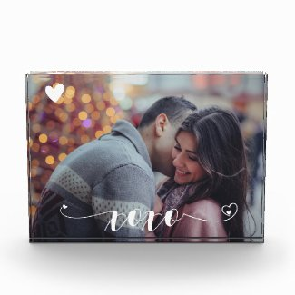 XOXO Heart Personalized Photo Custom Family Block